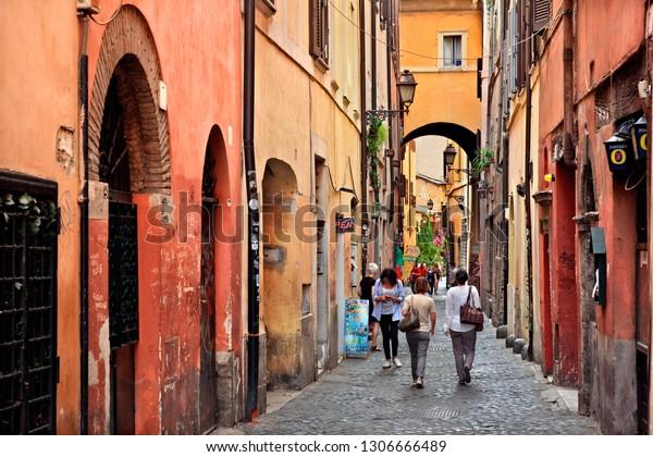 """ROME, ITALY - May 24, 2017. Via dei Cappellari (also known as """"Via della Poesia"""" -""""Poetry street""""), a trully picturesque street close to Campo de' Fiori."""