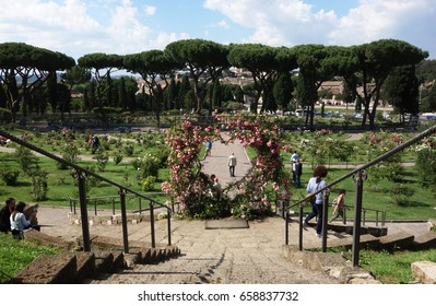 ROME, ITALY -  MAY 25, 2017: Rome Rose Garden public park located next to the Circus Maximus on the Aventine Hill