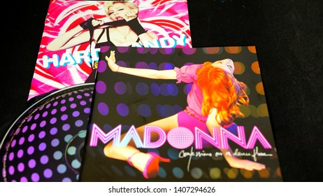 Rome, Italy - May 25, 2019: Detail of CD and artwork of two dance album of the singer Madonna. famous throughout the world since the early eighties also for its behaviors considered transgressive