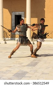 ROME, ITALY, MAY 26 2014: Birth of Rome festival - performing fight of gladiators and all other ancient ceremony, the parade of 2,000 actors from 11 European countries., Rome on May 26, 2014