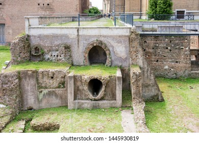 ROME, ITALY - MAY 3, 2019: Remains of ancient sewer pipes at the church of Santi Luca e Martina in Rome, Italy