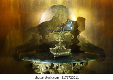 ROME, ITALY - MAY 30, 2018: Reliquary with Step of Mary Magdalene in the Church Santa Maria in Vallicella