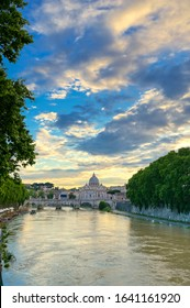 Rome, Italy - May 30, 2019 - A view along the Tiber River towards Vatican City in Rome, Italy.