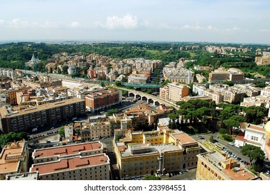 ROME, ITALY - MAY 31: Aerial view of Rome city from St Peter Basilica roof on May 31, 2014, Rome, Italy.