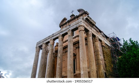 Rome, Italy - May 5, 2018: The Temple of Antoninus and Faustina in the Forum Romanum.