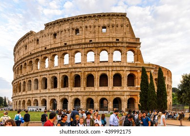 ROME, ITALY - MAY 7, 2016: Colosseum or Coliseum, Rome, Italy. One of the main touristic destinations in Rome