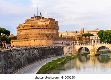 ROME, ITALY - MAY 7, 2016: Castle of Saint Angelo in the Historic Center of Rome, Italy. Rome is the capital of Italy and a popular touristic destination