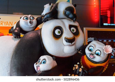 ROME, ITALY- MAY 7, 2016: Kung Fu Panda figure as the promotion for the Kung Fu Panda 3, a American-Chinese computer-animated action comedy film, by DreamWorks Animation