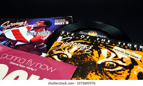 Rome, Italy - May 7, 2021: 45 rpm single from Sylvester Stallone's movie soundtrack, ROCKY. One of the most prolific film sagas started in 1976
