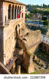ROME, ITALY - MAY 8, 2014: Casa dei Cavalieri di Rodi in the Forum of Augustus. Imperial Forums are one of the main travel attractions of Rome. Historical architecture and landscape of central Rome.