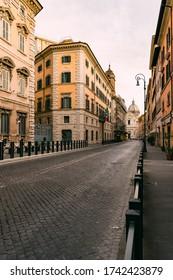 Rome, Italy - May 9 2020: Corso Rinascimento near Piazza Navona empty of cars and people during COVID-19 lockdown