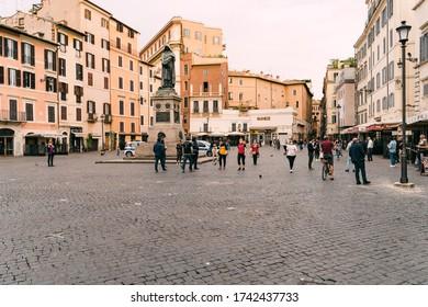 Rome, Italy - May 9 2020: Campo de' Fiori empty of tourists during COVID-19 lockdown