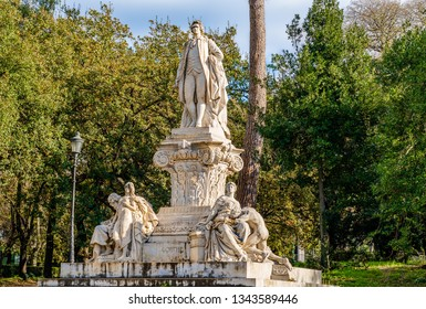 Rome, Italy: Monument to Johann Wolfgang von Goethe in Villa Borghese park.