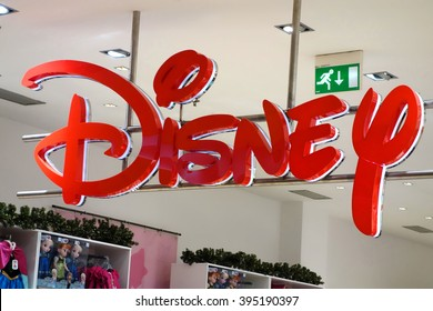 Rome, Italy - Nov, 2013: Disney sign at disney store in Roma Est shopping mall in Rome, Italy