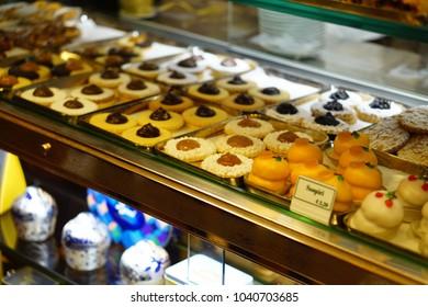 Rome, Italy Nov 8 2016: local ialian pastries in the shelves
