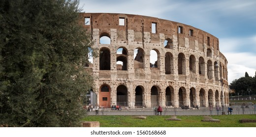 Rome Italy November 06/2019 The Colosseum Ancient Roman Colosseum is one of the main tourist attractions in Europe. People visit the famous Colosseum in Roma center. Scenic nice view of Colosseum ruin
