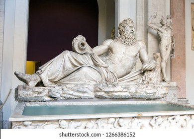 Rome, Italy - November 07, 2018: Neptune. St. Peter's Church, Rome