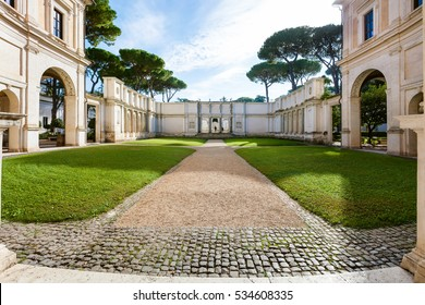 ROME, ITALY - NOVEMBER 1, 2016: courtyard of Villa Giulia, houses Museo Nazionale Etrusco (National Etruscan Museum), big collection of Etruscan art and artifacts, in Villa Borghese gardens in Rome