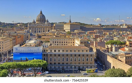 ROME, ITALY - NOVEMBER 1, 2017: Vatican City is seen at Castel Sant'Angelo on November 1, 2017 in Rome, Italy. Rome is one of the most popular tourist destinations in the World.
