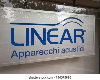 Rome, Italy - November 10, 2017: Linear Apparecchi acustici store. Store specialized in hearing aids and hearing protection