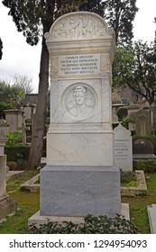 "Rome, Italy - November 13, 2018 : grave of Karl Bryullov, russian painter at the Cimitero Acattolico (""Non-Catholic Cemetery"") of Rome, Italy"