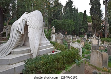 """Rome, Italy - November 13, 2018 : graves of famous people at the Cimitero Acattolico (""""Non-Catholic Cemetery"""") of Rome, Italy"""