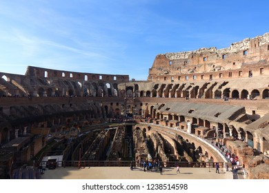 Rome / Italy - November 16 2018: Wide angle panoramic interior view of Colosseum on a sunny morning