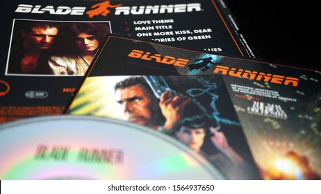 Rome, Italy - November 16, 2019: Covers and cd of the soundtrack of BLADE RUNNER by VANGELIS. 1982 science fiction cult movie, directed by Ridley Scott and starring Harrison Ford, Rutger Hauer