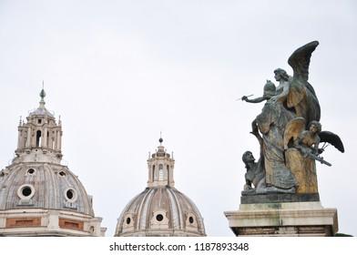 Rome / ITALY  - NOVEMBER 16,2017: Piazza Venezia and Palazzo Venezia in Rome.