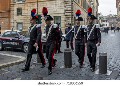 Rome, Italy - November 17, 2016: Italian soldiers in traditional uniform walk on a street