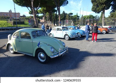 Rome, Italy - November 17 2018: Volkswagen beetle cars parked in WV vintage lovers reunion at Circo Massimo. The famous German manufactured auto is popular among motor enthusiasts and collectors