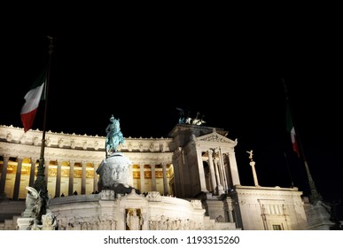 Rome / ITALY  - NOVEMBER 17,2017: Piazza Venezia and Palazzo Venezia at night in Rome.