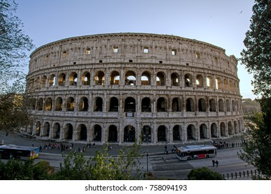 Rome, Italy - November 18, 2016: view of Colosseum with buses by it