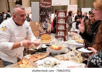 ROME, ITALY - NOVEMBER 18, 2017: The ninth edition of the National Fair of Panettone and Pandoro takes place in Piazza di Pietra with  best producers of Christmas sweet cakes from Italy.