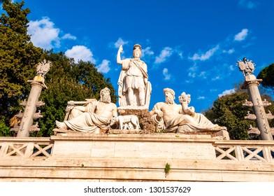 Rome, Italy - November 18, 2018: Fontana della Dea di Roma or Fountain of Goddess Roma is located in Piazza del Popolo in Rome, Italy