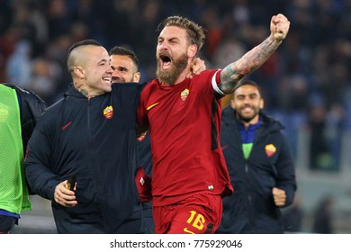ROME, ITALY - NOVEMBER 18,2017: Celebration of roma's players during fotball match serie A League 2017/2018 between AS Roma vs SS Lazio at the Olimpic Stadium on November 18, 2017 in Rome.