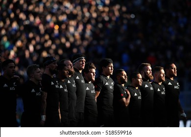 Rome, Italy November 2016:New Zeland team  during the national anthem in  the  Test match rugby 2016 Italy versus New Zeland in Olimpic Stadium in Rome on 12 november 2016.