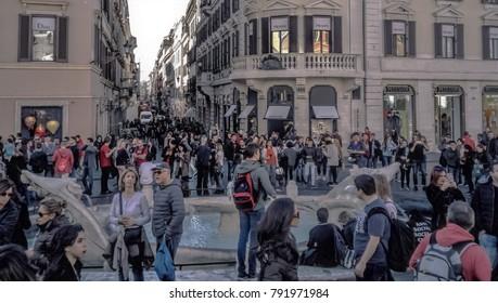 Rome, Italy - November 2017: Spanish Sqare and Spanish Steps (Piazza di Spagna)