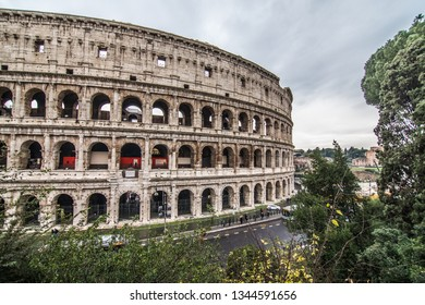 ROME, ITALY- November, 2018: Colloseum in Rome most remarkable landmark of Rome and Italy. Colosseum elliptical amphitheatre in the centre of the city of Rome.