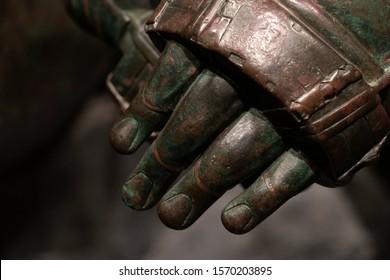 ROME, ITALY. NOVEMBER 22 2019 - Boxer pugilist greek bronze statue in Rome inside Romano Museo, beutiful sculpture of 2400 years ago