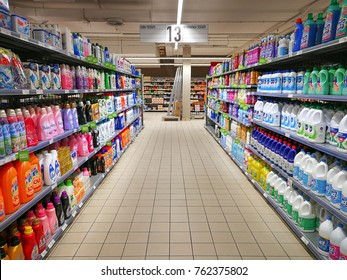 "ROME, ITALY. November 23, 2017: Soaps and detergents for house cleaning department in a shopping center ""IN GRANDE"" in Rome, Italy. Corridor with shelving products."