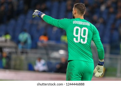 ROME, ITALY - November 25,2018: Gianluigi Donnarumma during football match serie A League 2018/2019 between SS Lazio versus Milan at the Olimpic Stadium in Rome.
