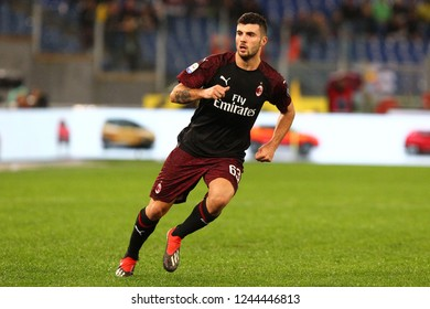 ROME, ITALY - November 25,2018: Patrick Cutrone during football match serie A League 2018/2019 between SS Lazio versus Milan at the Olimpic Stadium in Rome.