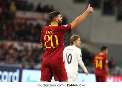 ROME, ITALY - NOVEMBER 27,2018:  Federico Fazio during football match UEFA Champions League football AS Roma versus Real Madrid at the Olimpic Stadium in Rome.
