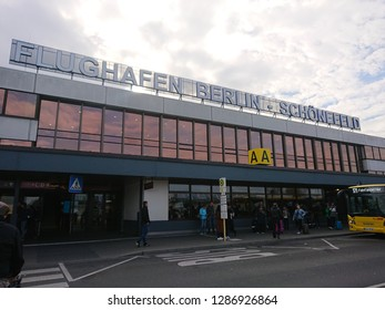 Rome, Italy - November 3, 2018: Berlin Schönefeld Airport signage. Flughafen Schonefeld is the secondary international airport of Berlin, located in the southern boundary of the city