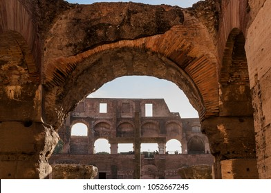 ROME, ITALY - NOVEMBER 30, 2017. Cross of the Colosseum ( Coliseum, Colosseo ,also known as the Flavian Amphitheatre )