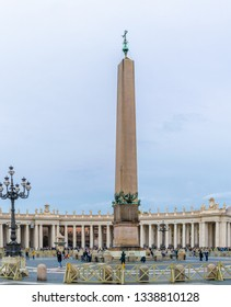 Rome, Italy - November 4, 2018: The Vatican Obelisk (Caligula's Obelisk), an uninscribed Egyptian obelisk in the center of Saint Peter's Square in front the Basilica in Vatican City, Rome.