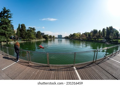 ROME, ITALY - NOVEMBER 8 2014: A view of the artificial lake of EUR and its main recreational activities of visitors to the site.