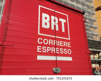 Rome, Italy - November 8, 2017: Bartolini courier logo. BRT is a courier, specialized in delivery of various types of shipments and in providing logistical support services for the handling of goods