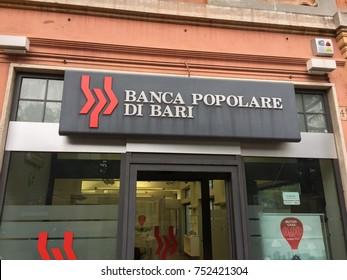 Rome, Italy - November 9, 2017: Branch of Banca Popolare di Bari. Banca Popolare di Bari S.C.p.A. (BP Bari) is an Italian bank based in Bari, Apulia region